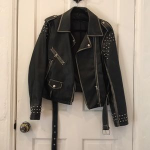 Zara silver studded faux leather jacket